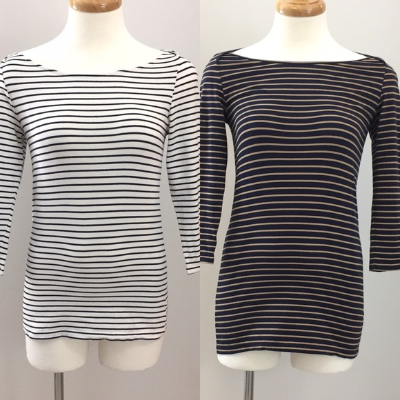 T. Babaton Stripped Boat Neck Tees